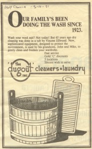 1991 Daily Camera ad for the Dugout - aka Boulder Cleaners
